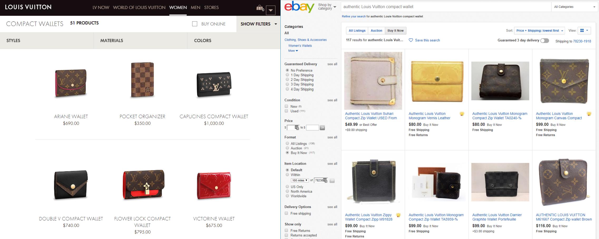 ce0d64d708bd ... we have a half-dozen authentic Louis Vuitton compact wallets